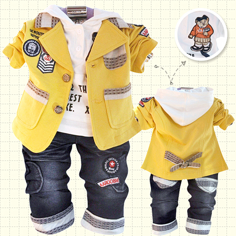 ФОТО Anlencool Children's clothing spring and autumn male child baby 100% cotton three piece set child clothes blazer free shipping