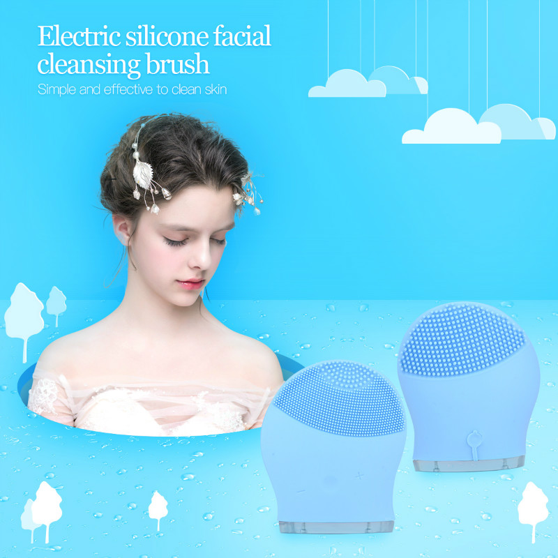 Electric Rechargeable Sonic Facial Cleaning Massage Washing Brush Massager Waterproof Silicone Face Dirt Cleanser Acne Remove new 3 in1 multifunctional facial cleaning tools usb rechargeable electric rotating facial cleansing brush cleaners scrubber