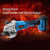 TCH 18V Angle Grinder with Lithium Battery Wireless Portable Polishing Machine Mini Multifunction Power Tool 4 Inch Disc Cutting