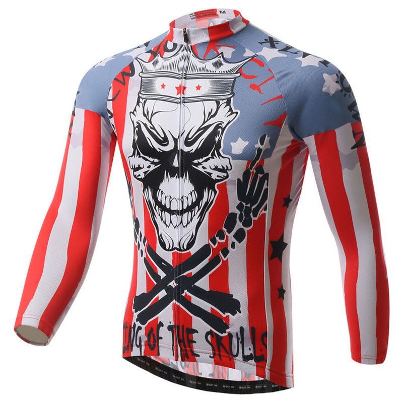 Skull Men s Cycling Jersey Autumn Long Sleeve Bicycle Cycling Clothing Ropa  Invierno Ciclismo Mountain Bike Jersey Sport Jackets-in Cycling Jerseys  from ... 716e13f77
