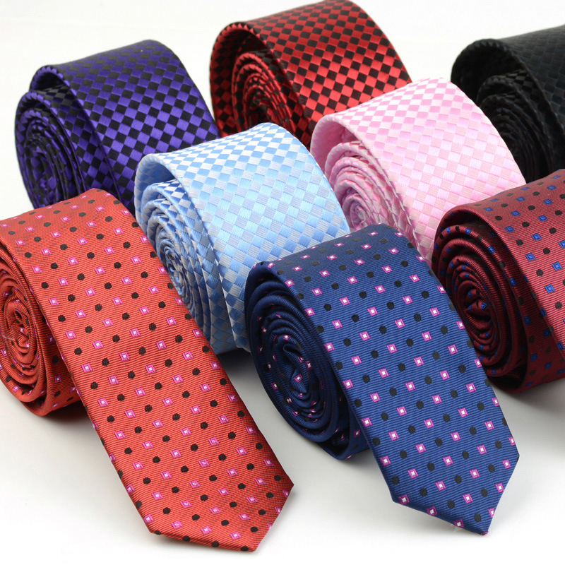 5cm Width Mens Ties New Fashion Plaid Neckties Corbatas Gravata Jacquard Woven Slim Tie Business Wedding Stripe Neck Tie For Men