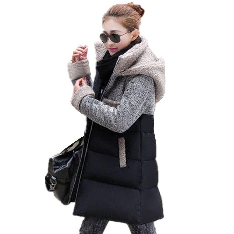 Outwear Parkas À Manteau C347 Casual Femmes Épaisse 2017 Plus Forme Coréenne Long Marée Hiver Un En De Veste Femlale La Capuche Laine Taille PkXuZi