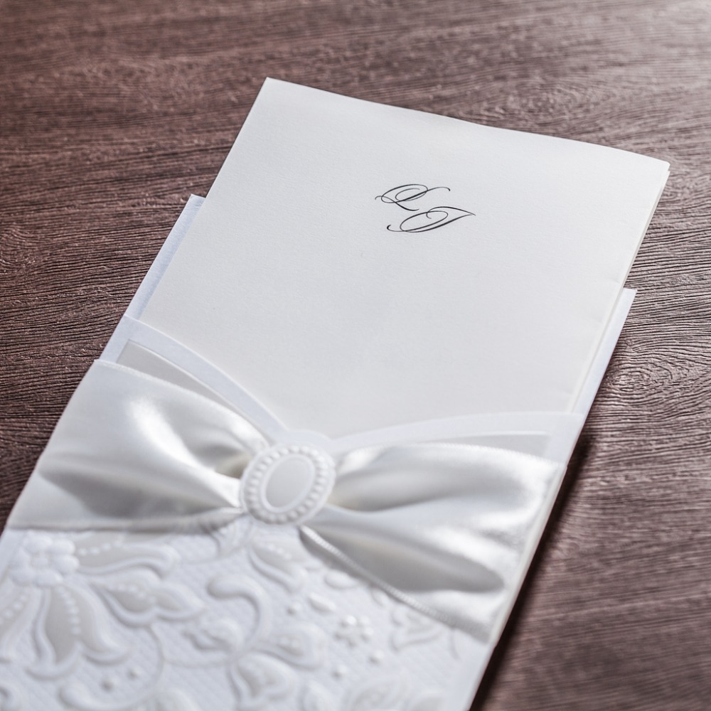 CW5193 white ribbon laser cut wedding invitation free shipping ...