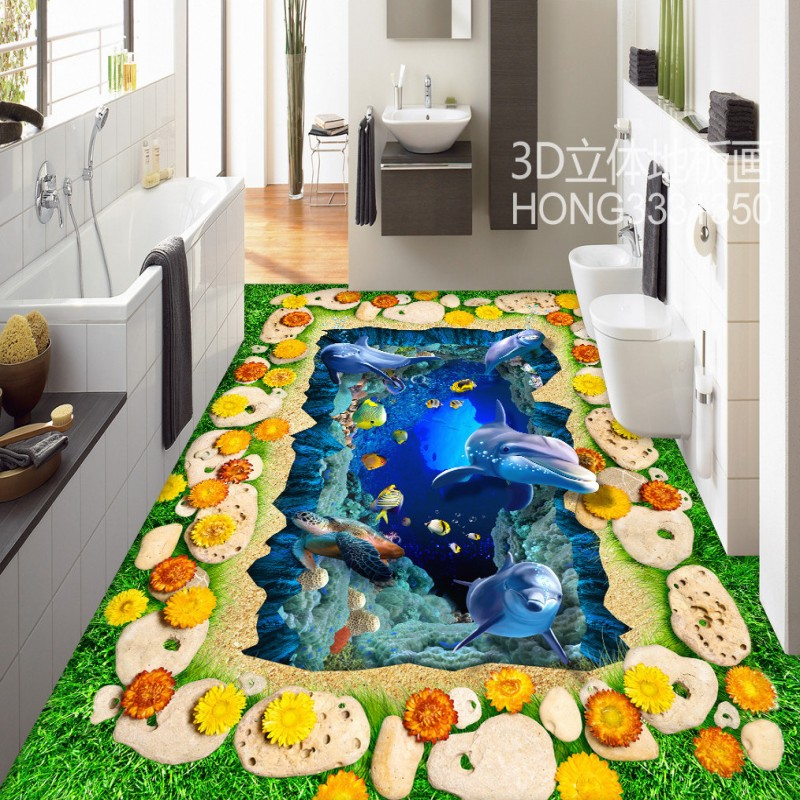 Free Shipping Stereo underwater world stone grass flowers 3D floor mural lobby home self-adhesive floor wallpaper