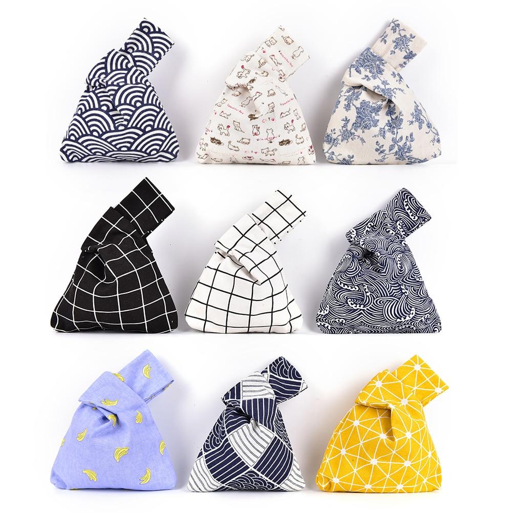 Japanese Fresh Style Wind Simple Knot Wrist Bag Mobile Phone Key Small Bag Grid Wave Flower Handmade Square Pump Belt Bag