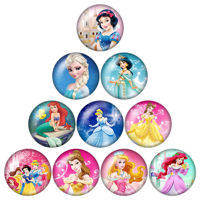 Fashion 10pcs mixed 18MM glass cabochon princesses cartoon snap buttons fit DIY snap bracelet jewelry photo snaps wholesale