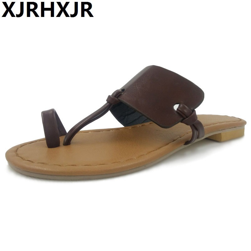 XJRHXJR Big Size 32-46 Customize Women Flip Flop Slippers Beach Slippers Casual Leather Women Shoes 2018 Flat Heel Slippers Sale цена 2017