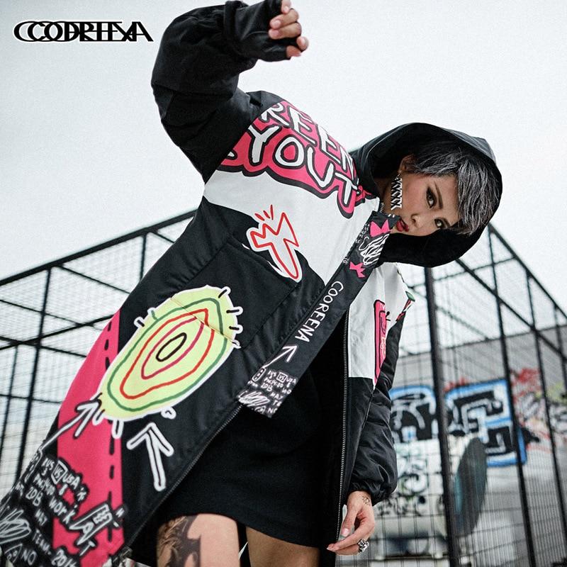 Hip Hop Women   Parka   2018 Winter Jacket Women Harajuku Cartoon Cotton Padded Jacket Warm Female Long Hooded Coat Clothes Tops