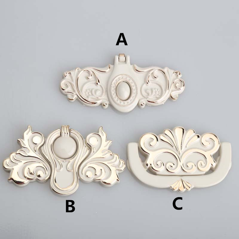 Europen style ivory white furniture handles gold white drawer cabinet dresser pull handle knob 64mm unfold install handle knob 60mm european style ivory white drop rings furniture handles 45mm white gold drawer cabinet dresser door rings knob pull handle