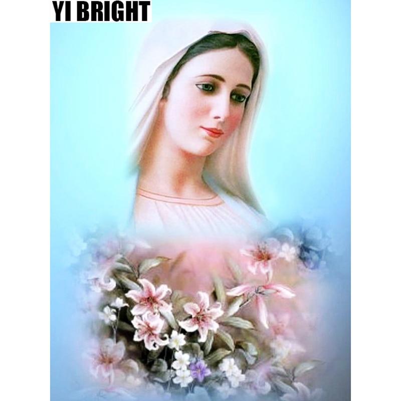 YI BRIGHT DIY 3D Diamond Embroidery,Cross Stitch,PaintingMadonna Maria Mural,Full Square&Round Diamond Painting,Home Decor,GT