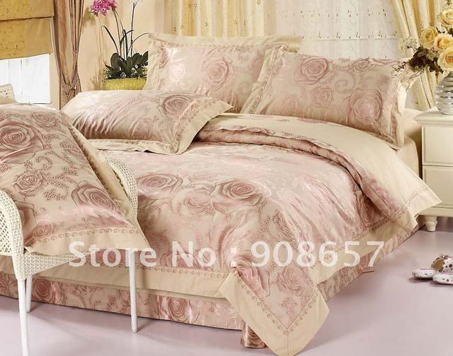 camel pink floral pattern sateen cotton gorgeous lace border jacquard doona quilt/duvet covers sets 4pc for full/queen comforter