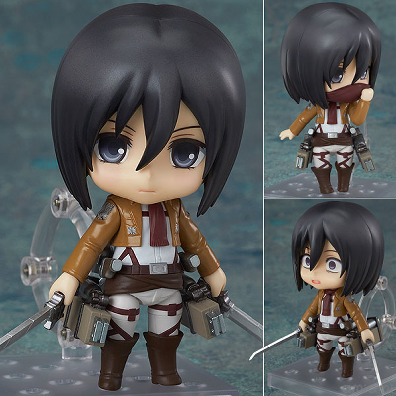 10CM Original edition Nendoroid Attack on Titan Mikasa Ackerman PVC action figure collection toy doll with