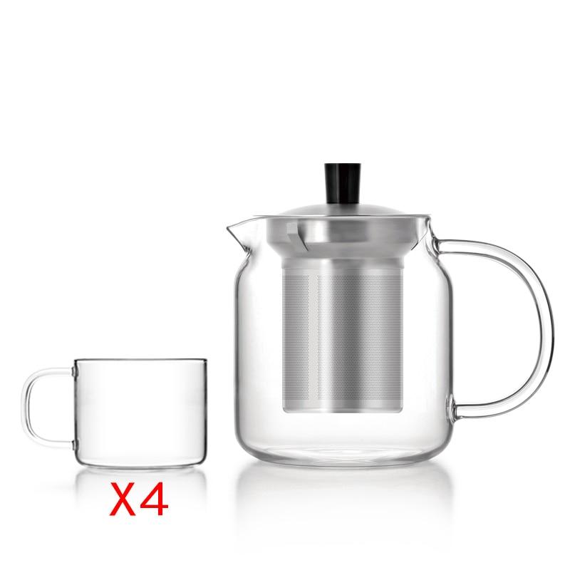 Egyszerű tervezés Boroszilikát üveg teáskanna, rozsdamentes - Konyha, étkező és bár