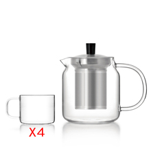 Simple Design Borosilicate Glass Teapot with Stainless Steel Infuser 700ml&4 Glass Tea Cups,Modern Gong Fu Tea Set
