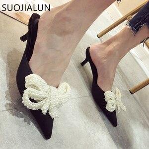 Image 2 - SUOJIALUN Women Mules Slippers Med Heel Sandals Summer Slip On Slides Brand Butterfly Loafers Flip Flops Shoes Outdoor Slipper