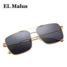 9c665e6cfe [EL Malus] grande Retro Metal marco cuadrado gafas de sol UV400 mujeres  hombres primera marca de gran tamaño Rosa negro espejo s.