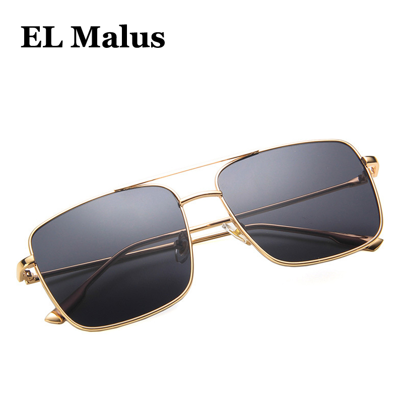 Fine retro Big Metal Frame Square Sunglasses Uv400 Women Men Oversized Brand Designer Pink Black Mirror Sun Glasses Pleasant In After-Taste el Malus
