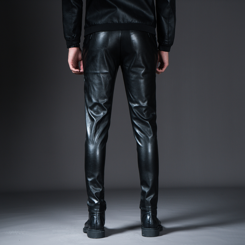 New Winter Spring Men's Skinny Leather Pants Fashion Faux Leather Trousers For Male Trouser Stage Club Wear Biker Pants 24