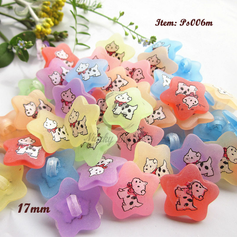 120pcs Star shape dog pattern buttons shank child button sewing supplies foreign trade surplus goods Only 3 lots