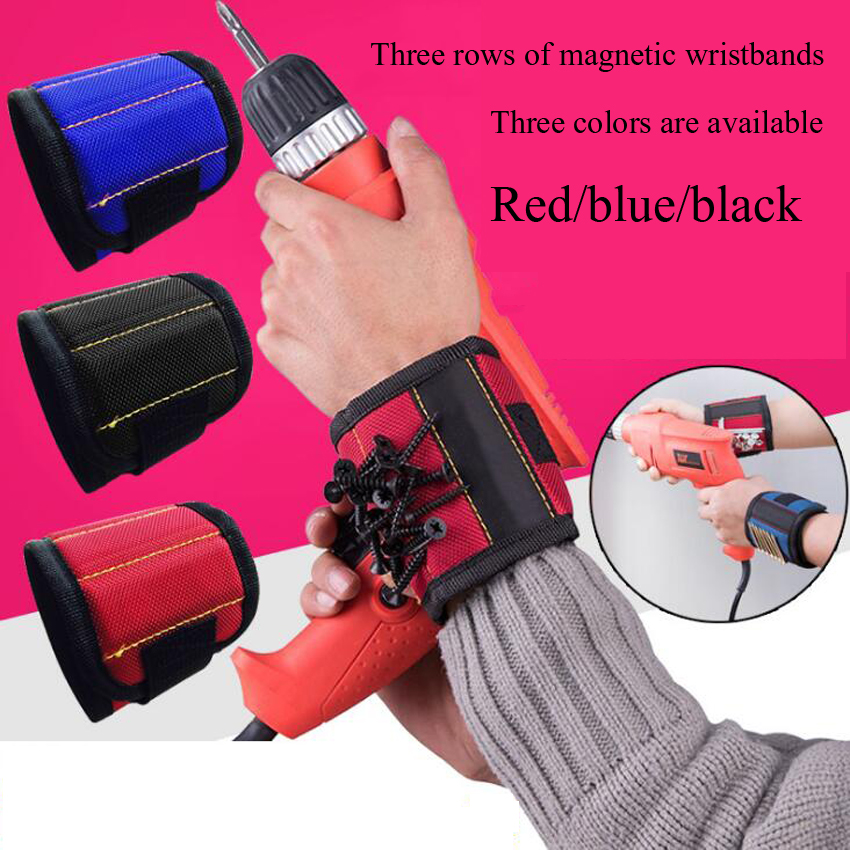 Strong Magnetic Wristband Portable Tool Bag Electrician Wrist Tool Belt Screws Holding Nails Drill Bits Holder Repair Tools