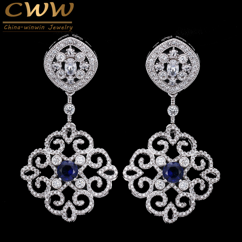 CWWZircons Brand Vintage Mixed Green Red Blue Cubic Zirconia Crystal Big Long Luxury Earrings for Women Wedding Jewelry CZ236