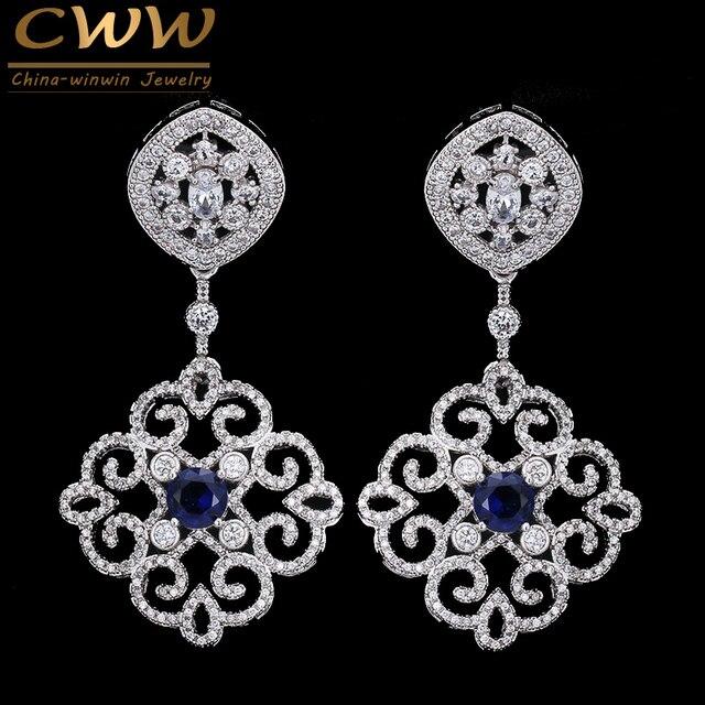 CWWZircons Brand Vintage Mixed Green Red Blue Cubic Zirconia Crystal Big Long Luxury Earrings for Women Wedding Jewelry CZ236