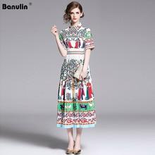 Banulin New 2019 Runway Summer Dress Womens Short Sleeve Animal Floral Printed Party Mid Calf Pleated Dresses Vintage Vestidos