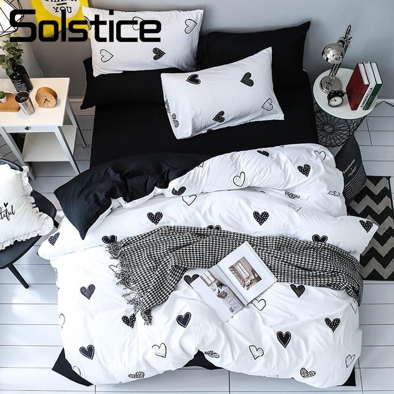 Solstice Textile de Maison Filles Enfant Adolescent Bref Ensemble De Literie Pour Adultes Femelle Inen Doux Noir Blanc Coeur Housse de Couette Taie D'oreiller Lit feuille