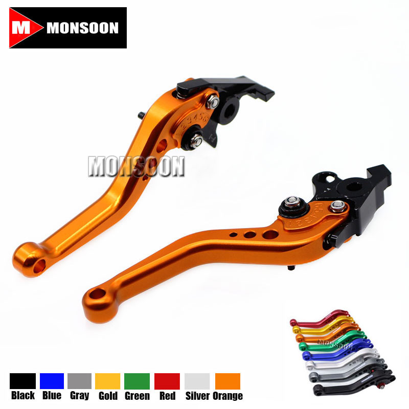 For SUZUKI GSF1250F GSF 1250F BANDIT GSF1200 GSF 1200 BANDIT GSX 1400 Motorcycle Aluminum short Brake Clutch Levers Orange for suzuki gsf 1250f bandit gsf 1200 gsx 1400 aluminum short brake clutch levers black