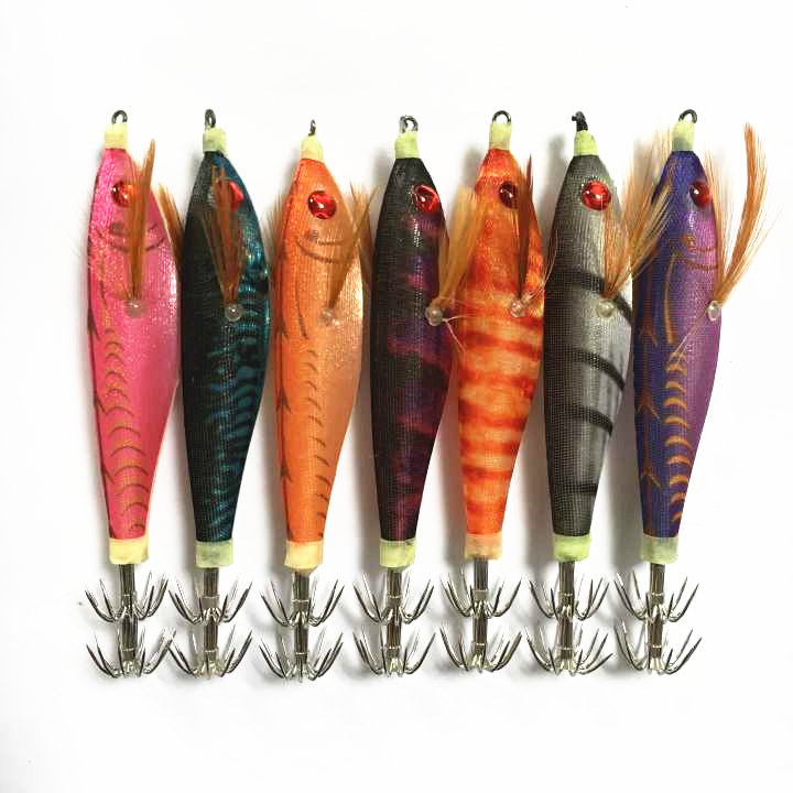 7Pcs Artificial Wood Shrimp Squid Jigs Bait 10cm 10g Jigging Squid Hook Trout Lure Fishing Tackle Squid Lure