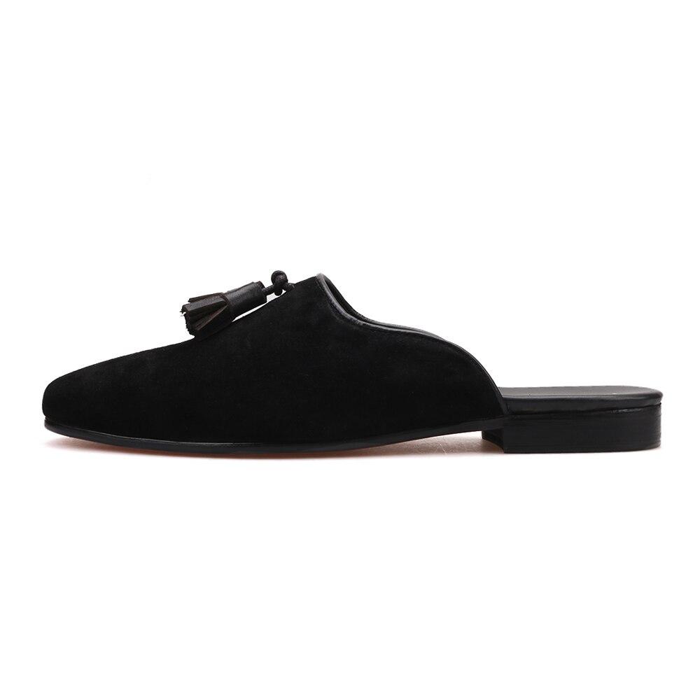 Piergitar Handmade di nuovo stile degli uomini di Pantofole di Camoscio partito di Modo e mostrare nappa scarpe taglie mezza disegni uomini mocassini-in Pantofole da Scarpe su  Gruppo 2