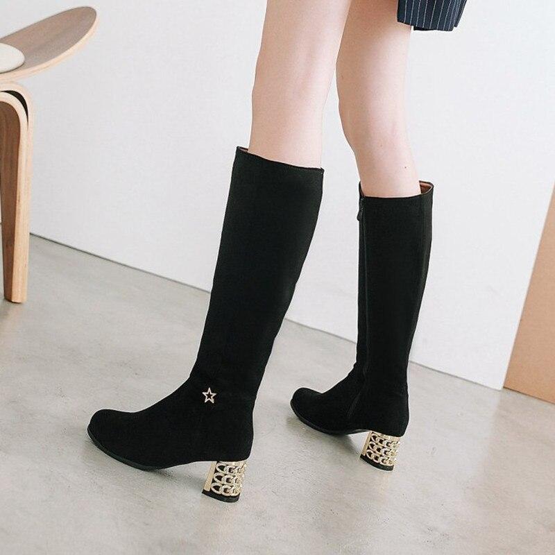 721198eb Comprar 2018 nuevo llega la rodilla las botas mujeres tacones altos moda  Zapatos de las mujeres de invierno cómodas botas de mujer negro Online  Baratos
