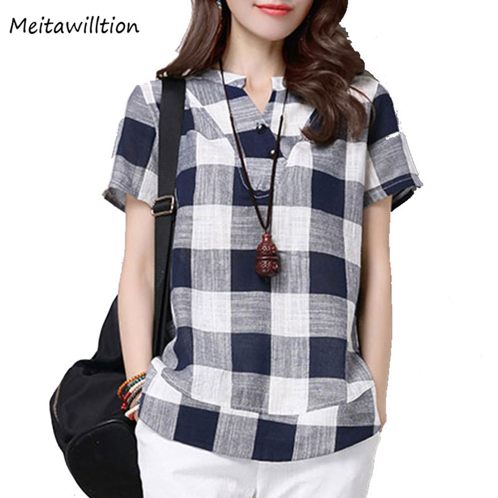 2018 Summer Women Plaid Shirts Casual Henley Neck Button Short Sleeve Loose Blouse Shirts Plus Size Women Clothing XXXL 4XL