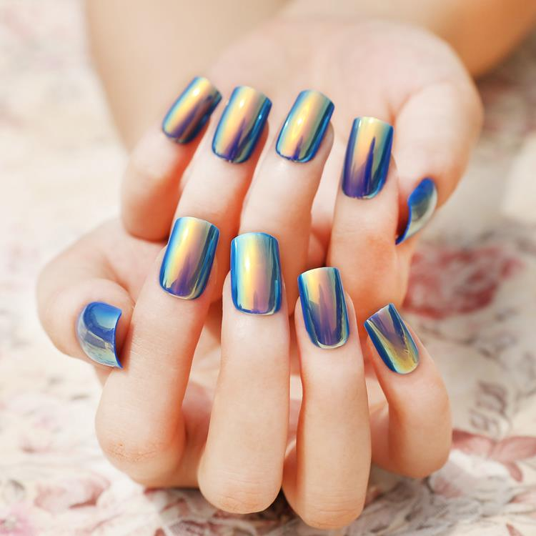 Symphony Shell Color Blue Metal Shine Bent Lady Artificial False Nail Tips Z089 In Nails From Beauty Health On Aliexpress