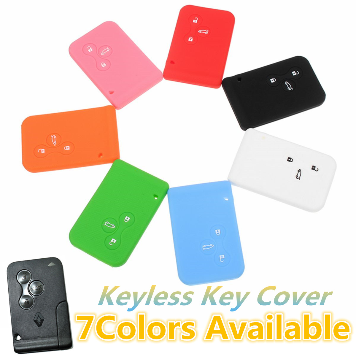 3 Buttons Silicone Car Key Case Cover Protector For  For Renault Clio Logan Megane 2 3 Koleos Scenic