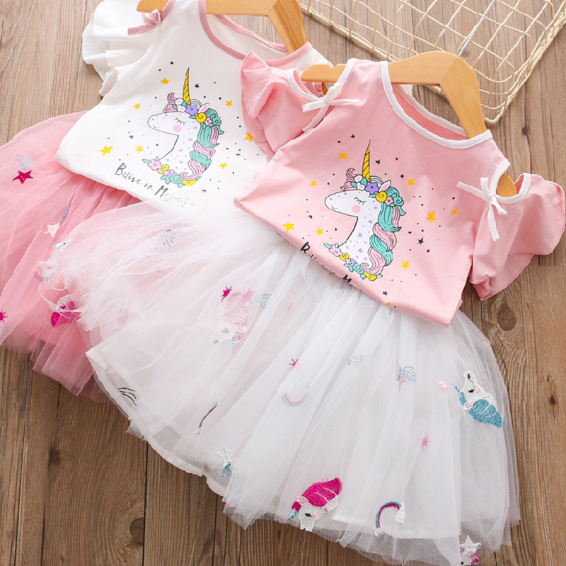 Unicorn <font><b>Dress</b></font> Summer <font><b>Dress</b></font> For <font><b>Girls</b></font> Sets 2019 Cute Princess Unicornio <font><b>T</b></font>- <font><b>Shirt</b></font> + Gauze <font><b>Dress</b></font> 2PCS Set Children Clothing 3 8Y image