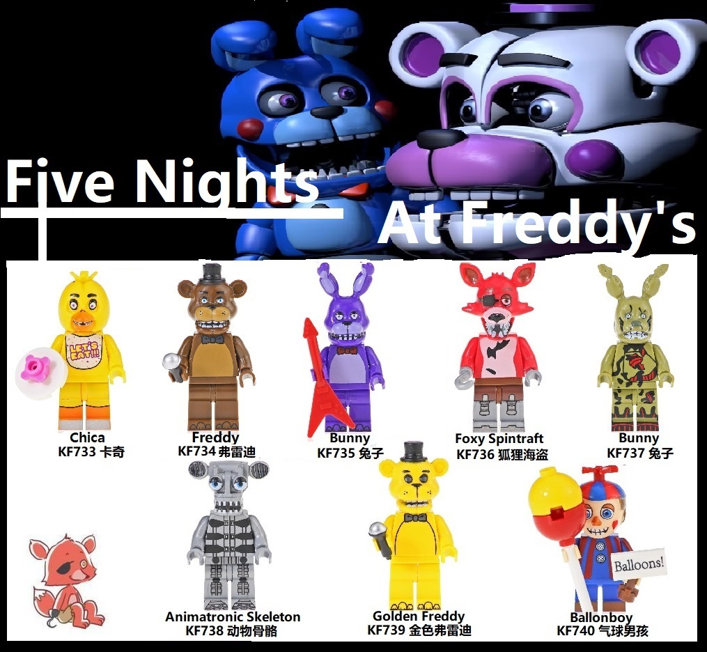Single Sale Building Blocks Plastics Bricks Five Nights At Freddy's Chica Freddy Bunny Figures For Children Model Toys KF6071