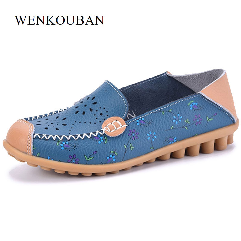 Genuine Leather Shoes Women Ballet Flats Summer Moccasins Ladies Loafers Slip On Casual Flat Shoes Ballerina Blue Zapatos Mujer beyarne spring summer women moccasins slip on women flats vintage shoes large size womens shoes flat pointed toe ladies shoes