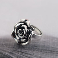 925 Silver Rose Flower Ring 100% Real S925 Sterling Thai Silver Rings for Women Jewelry Girl Adjustable Size