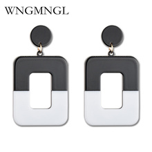 WNGMNGL Punk Female Drop Earrings High Quality Retro Square Geometric Resin For Woman Dangling Ears Jewelry Brincos