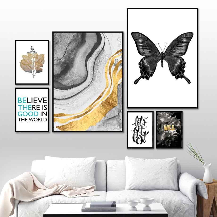 Fleur papillon feuille abstraite paysage mur Art toile peinture nordique affiches et impressions mur photos pour salon décor