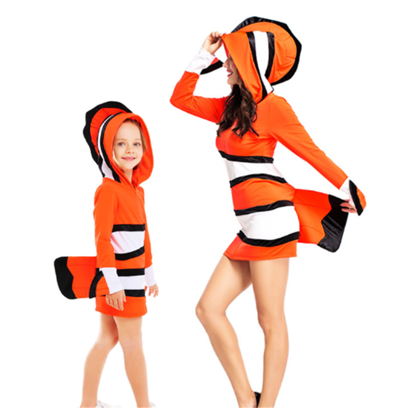 2018 new Halloween parent-child clothing Mother and daughter Mermaid Dress Clownfish Cosplay Costume Party Dress for Women girl