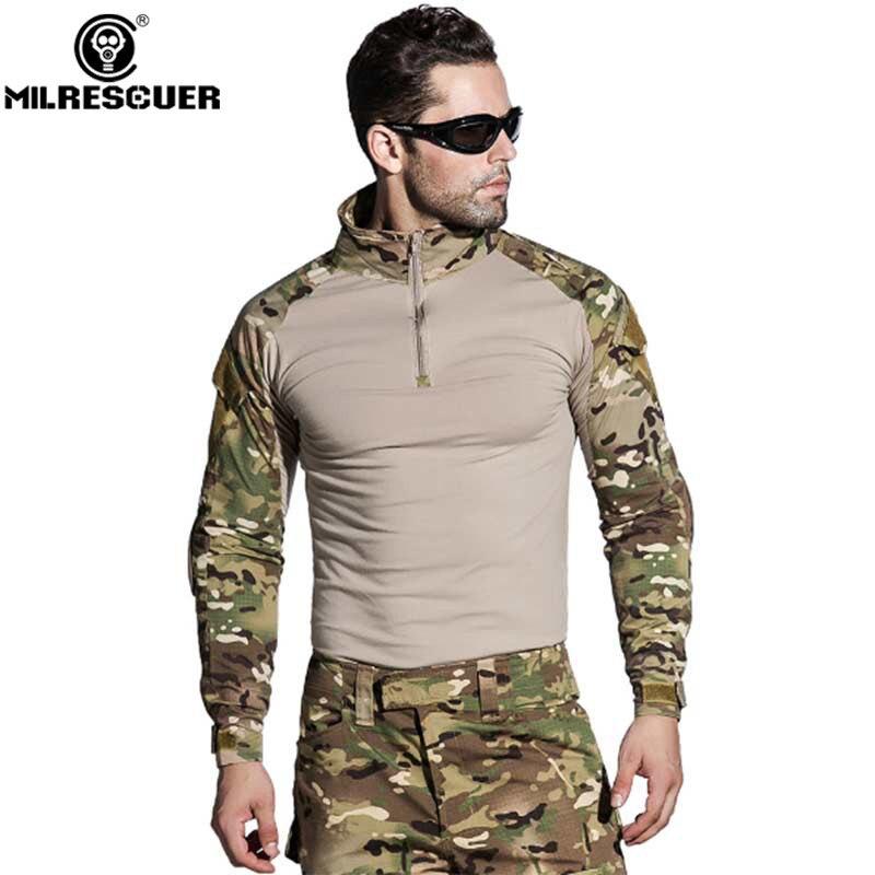 Uniforme militaire tactique Camouflage uniforme militaire Multicam armée chemise de Combat pantalon tactique avec genouillères vêtements de chasse - 4