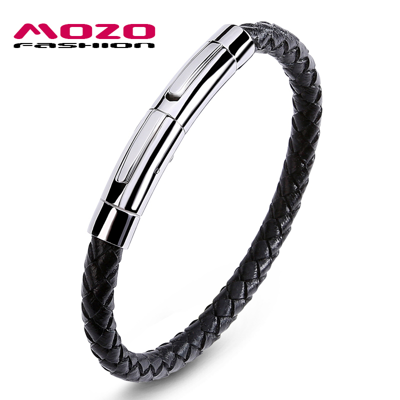 MOZO FASHION Men Casual Bracelet Exquisite Stainless Steel Clasps Black Leather Bracelet Man Bangles Hot Selling Jewelry PS1052
