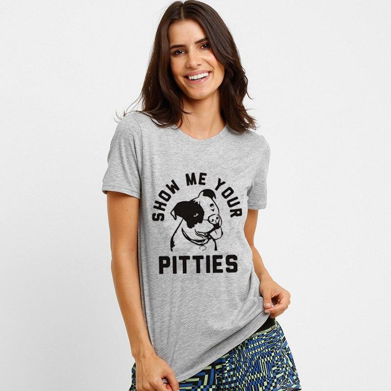 Новый Дизайн Лето wt0012 модные Show Me Your pitties забавные Pitbull короткий рукав аниме футболка унисекс