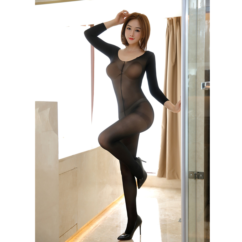 3 Colors Sexy Lingerie Underwear Crotchless Bodystocking Full Body Pantyhose Ultra-thin Transparent Long-sleeve Costumes For Sex