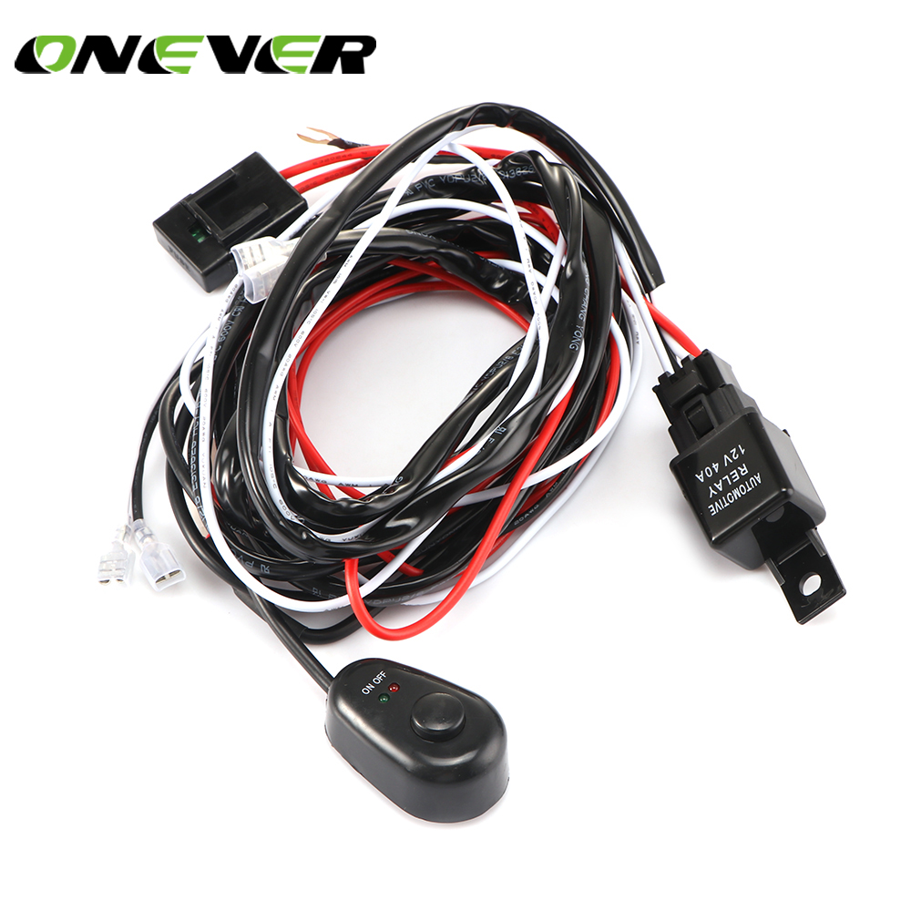 Onever Universal 2 lead LED Light Bar Wiring Harness Kit with Fuse Relay ON  / OFF Switch for Driving Lamp Fog Light Work Light-in Car Switches & Relays  from ...