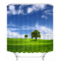New 3D Shower Curtains Green Grassland Scenery Pattern Waterproof Fabric Bathroom Curtain Washable Bathroom Products 12 C Hooks