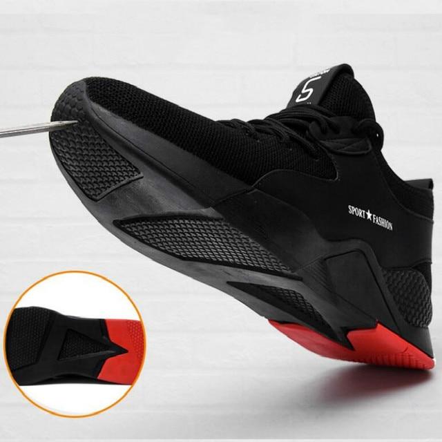鋼つま先安全靴パンク証拠ブーツ快適な抗スマッシング抗ピアス産業男性通気性のスニーカー