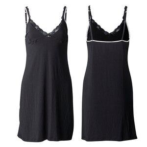 Image 4 - Women Sexy Lace Nightgowns Sleepshirts Ladies Knee Length Spaghetti Strap Sleepwear Nighty Plus Size Nightdress 6XL Pijama 2520